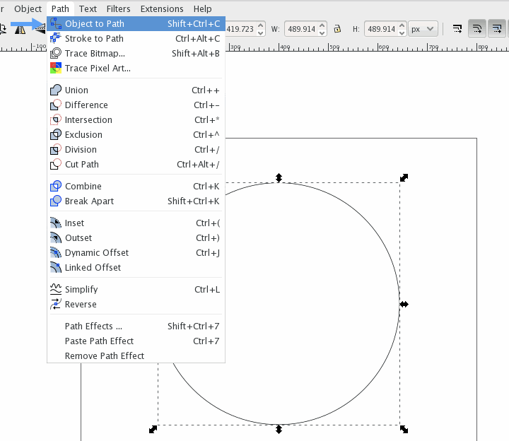Draw a perfect circle from the center with control + shift then convert to path