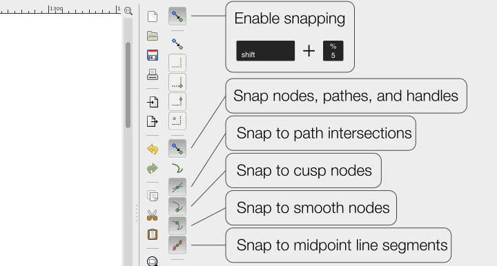 Inkscape: setting up snapping