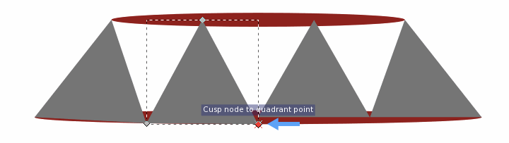 Still using the node tool, snap the bottom corners of the triangles to the bottom portions of the bottom ellipse
