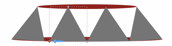 Widen middle two triangles